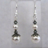 White Pearl with Black Diamond Bicone Earrings
