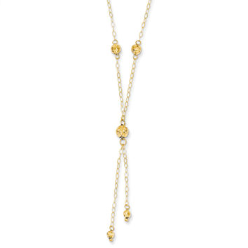 14k Yellow Gold Bead Lariat with 2in ext Necklace SF1890