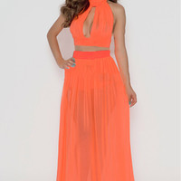 Orange Halter Front Cut Out Maxi Dress with Mesh Accent