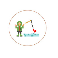 Modern Cross Stitch pattern of a fisherman. Nice Christmas gift for a man that loves to fish hats. English, Spanish and Dutch pattern