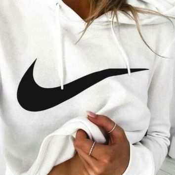 DCCKN7G NIKE White Cotton Round Neck Long-Sleeved Top Sweater Hoodie