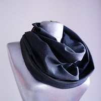 Handmade Infinity Scarf - Wool - Gray - Winter Autumn Scarf - Men Unisex Scarf