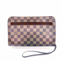 LOUIS VUITTON Wristlet Clutch in Damier Ebene