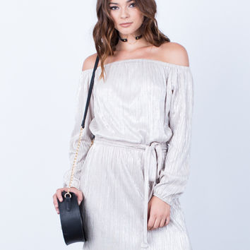 Metallic Off-the-Shoulder Dress