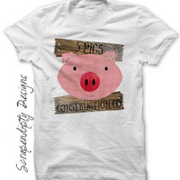 3 Little Pigs Iron on Transfer, Pig Digital File, Finished Kids Pig Shirt, Toddler Halloween Outfit, 3 Little Pigs Shirt, Boys Pig Outfit