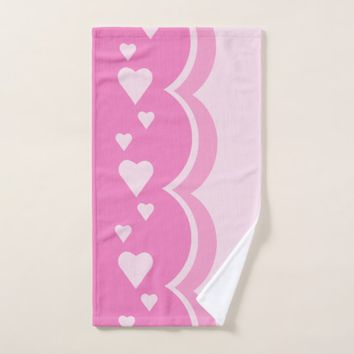 Pink Hearts Bath Towel Set