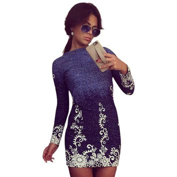Elegant Slim Fit Mini Dress  Print Floral Pattern