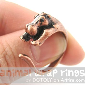 Hippo hippopotamus Animal Wrap Ring in Copper - Sizes 4 to 9 Available