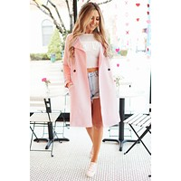 Chic Intuition Faux Suede Coat (Pink)