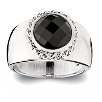 Black Agate With Chain Design Bezel Ring