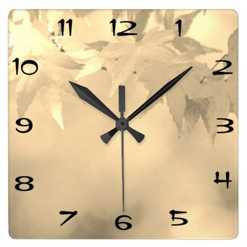 Vintage Black White Autumn Maple Leaf Square Wall Clock