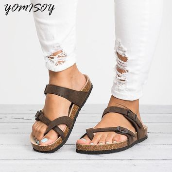 Fashion Cork Shoes Women Casual Gladiator Flat With Mid High Heels Buckle Women Sandals