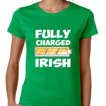 Women's T Shirt Fully Charged Irish St Patrick's Day Tee Fun