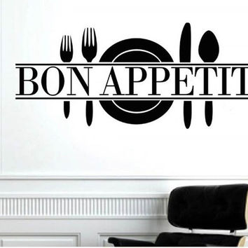 Bon appetit food wall stickers kitchen room decoration 8344. diy vinyl adesivo de paredes home decals art posters papers 3.5 SM6