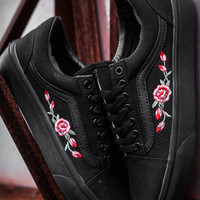 shosouvenir  Vans Old Skool Casual Fashion Embroidery Flower Canvas Shoes Sport Flats Shoes