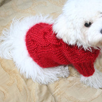 Dog Sweater | Red Sweater | Pet Clothing | Hand Knit Dog Clothes | Cable Dog Sweater | Pets by BubaDog