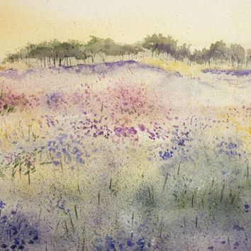 Wildflowers Watercolor Print - Impressionistic- Spring Art- Pastel Colors- Watercolor Landscape- 5x7
