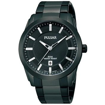 Pulsar Mens Easy Style Watch - Black IP Case and Bracelet - Date Window