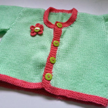 Baby Cardigan // Baby Knit // Baby Summer Clothes // Spring Green & Shrimp