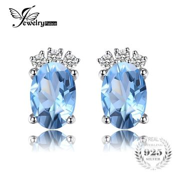 JewelryPalace Classic 1ct Oval Natural Sky Blue Topaz Stud Earrings Solid 925 Sterling Silver Fine Jewelry For Women Accessories