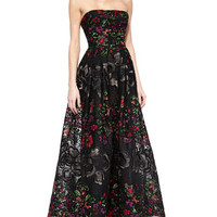 Elie Saab Strapless Floral-Embroidered Gown