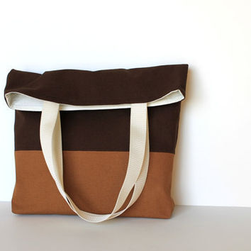 Simple Organic Cotton Canvas Tote Bag Caramel by handmadetherapy