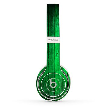 The Bright Green Highlighted Wood Skin Set for the Beats by Dre Solo 2 Wireless Headphones