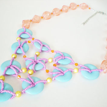 Candy Colors Bib Necklace Handmade by RetroRevivalBoutique on Etsy