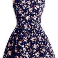 Elegant Floral Navy Sleeveless A-Line Dress - OASAP.com