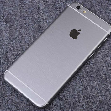 Silver Brushed Aluminum Surface Decal Wrap Skin Set iPhone 6s 6 / iPhone 6s 6 Plus