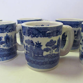 Set of 6 Blue Willow Mugs Blue and White China Willow ware England Blue Willow Decor  Blue Willow Cups Blue and White mugs Blue willow Japan