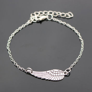 Wing Vintage Silver Plated Blue Eye Peace Owl Heart Bracelet For Women Jewelry Charm Bracelets Bangles