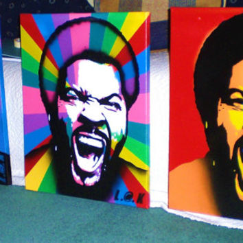 Ice Cube painting on canvas,stencil art,spray paints,urban,hip hop,rap,west coast,Los Angeles,portrait,music,gangster,wicked,face,compton