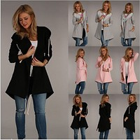 Fashion jacket hooded cardigan sweater dress long
