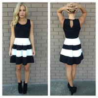 Black & White Poplin Sleeveless Dress