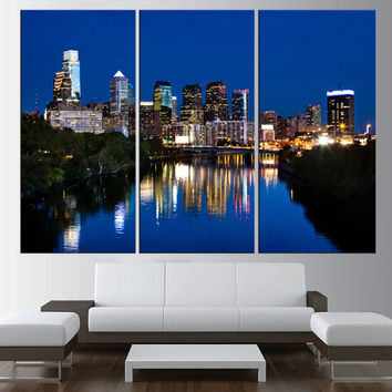 Philadelphia skyline canvas print, Ben franklin bridge wall art, extra large wall art, canvas art for large wall, modern wall decor t379