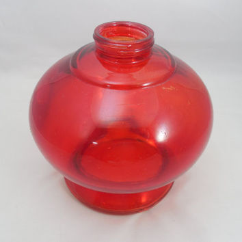 "Red Oil Lamp Base or Jar 5 1/2"" Tall, Vintage Oil Lamp Base, Red Glass Jar for Oil or Kerosene Lamps, 1 5/8"" Opening"