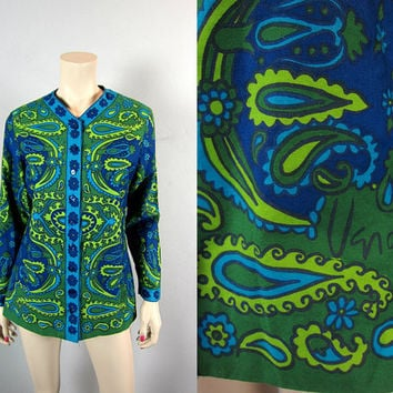 Vintage 60s Vera Neumann Ladybug Mod Paisley Top Cotton Green Blue Button Front Twiggy Peter Max Tunic Blouse