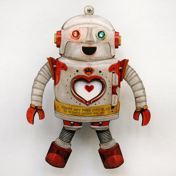 Men's Personalized Father's Day Robot Paper Puppet with blinky fun lights & custom key card!