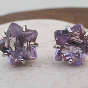 Sale Amethyst Studs- Star Earrings- Star Studs- February Birthstone Studs- Gemstone Studs- Purple Studs- Stone Post Earring- Purple Amethyst