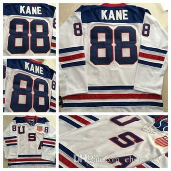 Chicago Blackhawks 2010 Olympic Team USA 88 Patrick Kane White Ice Hockey Jerseys Embroidery Logos Hockey Jersey