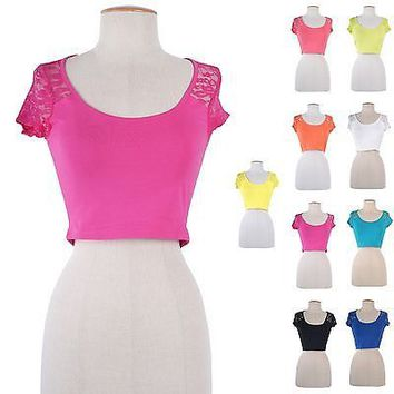 Solid & Floral Lace Short Sleeve Scoop Neck Cropped Belly Shirt Top