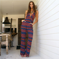 Sleeveless V-Neck Tribal Print Jumpsuit