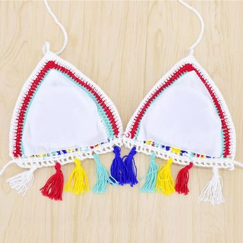 2017 Sexy Women Handmade Crochet Bikini knitting girl micro Knit Suit Colors Triangle Swimming Top Swimsuit Beach Swimwear