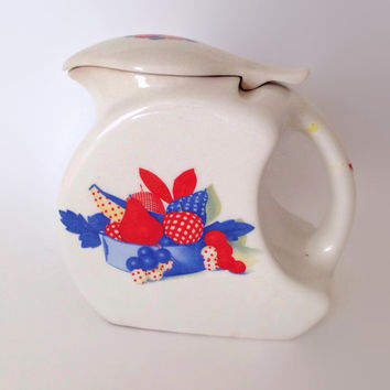 Vintage Calico Fruit Pitcher-Universal-with Lid-Fruit and Basket Center-Ceramic-Vintage Kitchen-1940's-Transferware-Pottery Pitcher