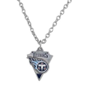 5 Pcs Enamel Heart Football Team Logo Tennessee Titans Pendant Necklace Sport Charm Stainless Steel Chain