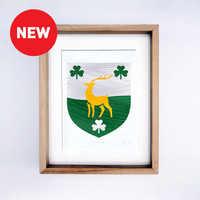 Single Family Coat of Arms. Hand Painted in Modern Style