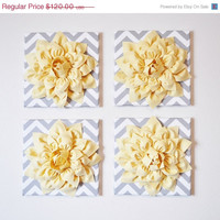 "MOTHERS DAY SALE Wall Decor -Set Of Four Light Yellow Dahlias on Gray and White Chevron 12 x12"" Canvases Wall Art- 3D Felt Flower"