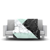 "KESS Original ""Geo Marble and Mint"" Black Art Deco Fleece Throw Blanket"