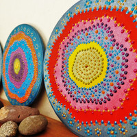 Gipsy Set of 3 plaques Bohemian decor Wall decor Table decor Tribal decor Abstract painting